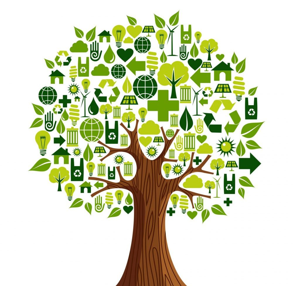 Environmental conservation icons set in tree shape. Vector illustration layered for easy manipulation and custom coloring.